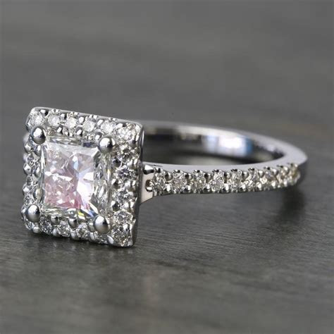 princess halo  carat diamond engagement ring