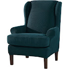 Subrtex 2-piece Stretchable Wingback Chair Slipcovers, Blue Plaid