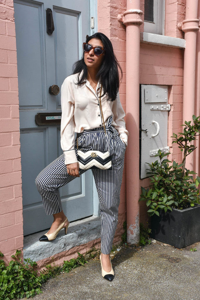 the perfect outfit with striped pants  the silk sneaker