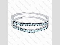 White Gold FN .925 Silver Aquamarine Ring Guard Wrap Enhancer Wedding Band   CZ, Moissanite