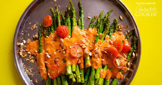 Roasted Asparagus: topped with healthy smokey romesco sauce!
