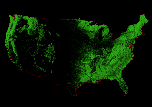 Forest cover map of the Unites States - Ecoclimax