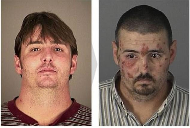 Edward, 34 (left), was arrested in January 2008 for possession of propoxyphene, a type of opioid. The next time his mugshot was taken was in 2013, aged 40. This time he was charged with possessing a controlled substance
