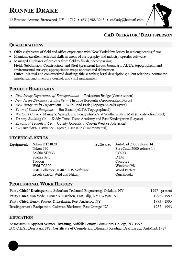 Resume Sample For Cad Operator Resumes Pinterest