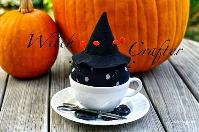 Sew Sweet Vintage: witch tea cup pin cushion