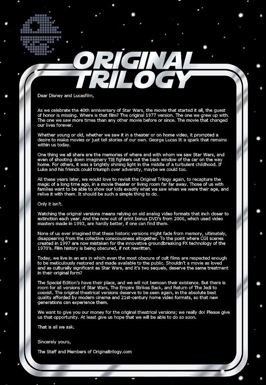 Petition for Disney Era Lucasfilm to Recognize and Release the Original Star Wars Trilogy. - Imgur