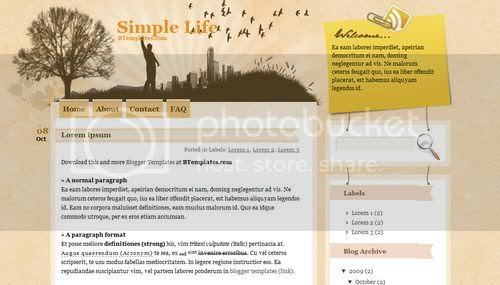 Blogger Yellow City Life Template