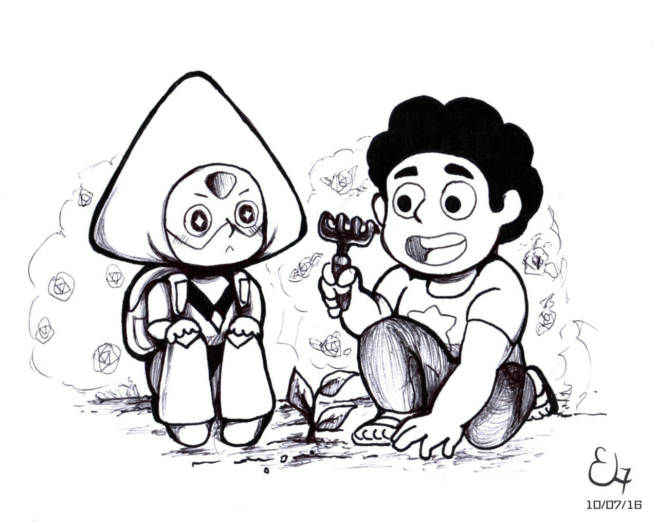 TSInktober Day 7: Maybe it was Steven who taught her how to plant :3