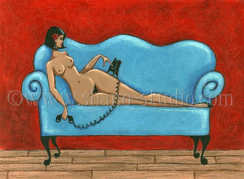 Nude Voluptuous Vixen (Blue Sofa)
