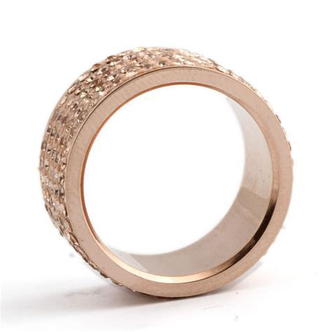 Rose Gold Plated Stainless Steel Crystal Wedding Ring   My