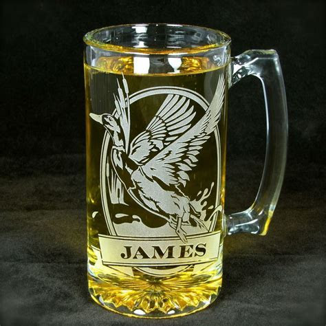 Personalized Grizzly Bear Beer Mug, Engraved Glass Present