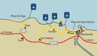 Mapa de la costa de dinosaurios en Ribadesella