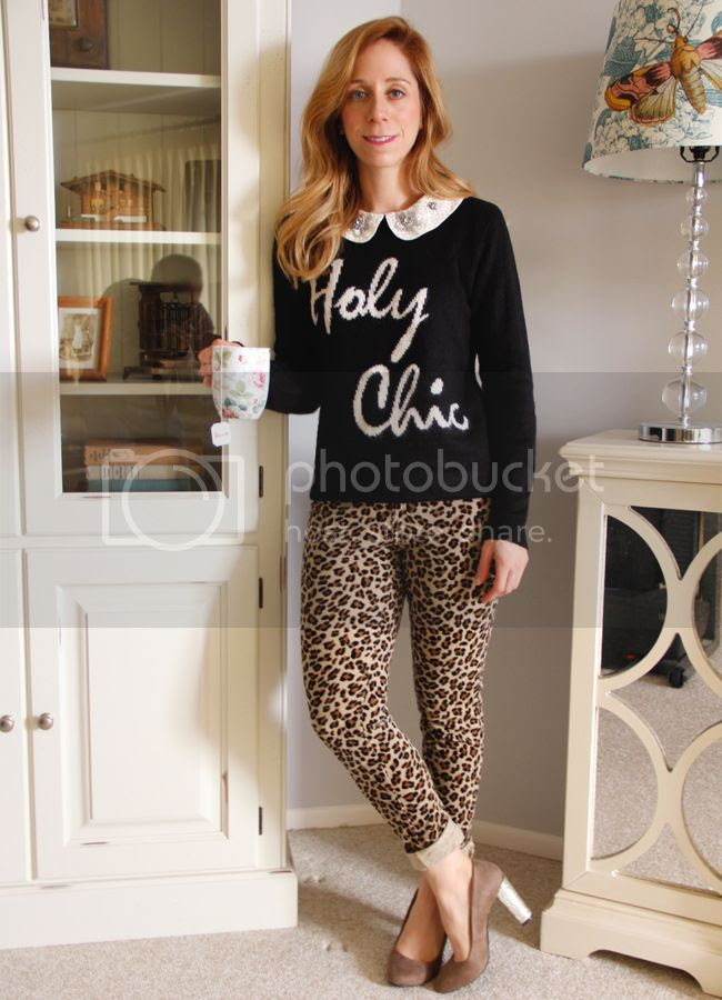 Forever 21 Holy Chic sweater, leopard skinny jeans, DIY glitter heel pumps