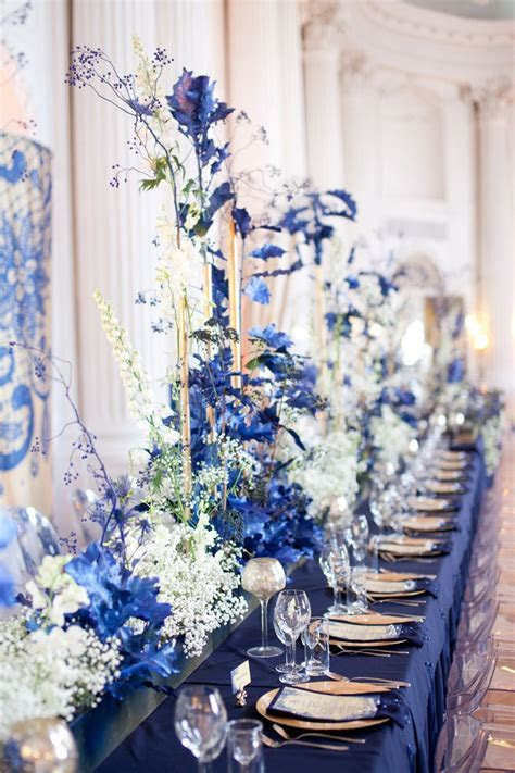 Navy Blue Wedding Reception in Rydzyna Castle, Poland by
