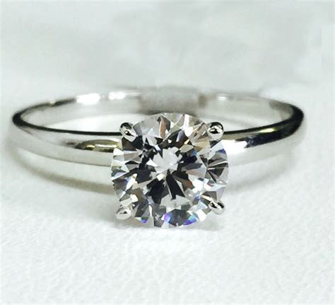 Solid 14K White Gold Cubic Zirconia Solitaire Engagement