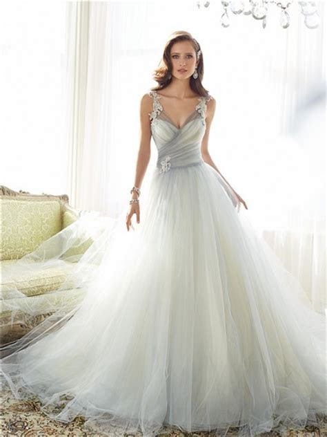 Fairy Ball Gown Illusion V Neckline Grey Tulle Lace