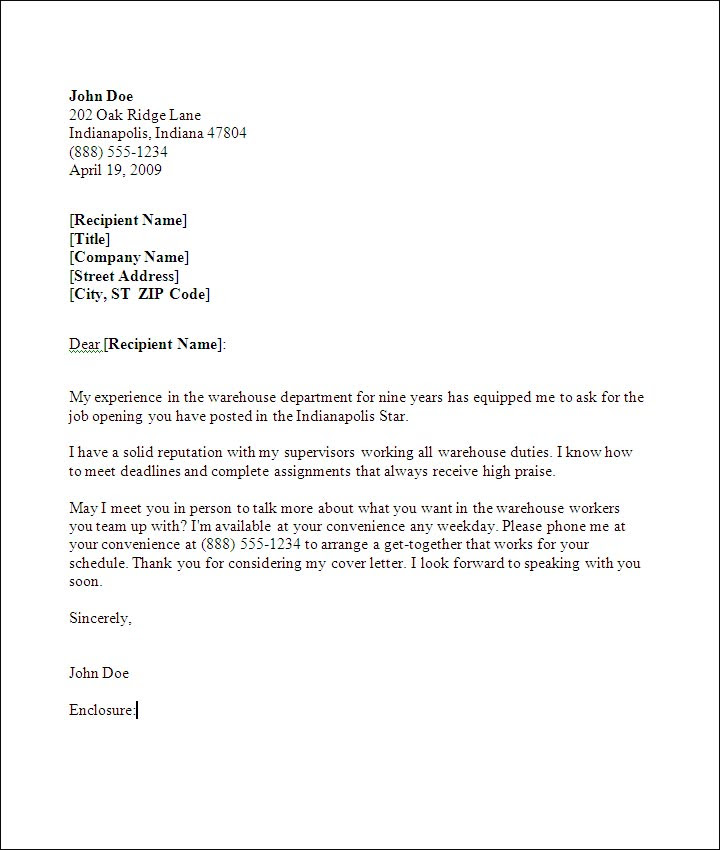 Cover Letter Examples Warehouse