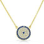 925 Sterling Silver Evil Eye Hamsa White Blue CZ Pendant Necklace