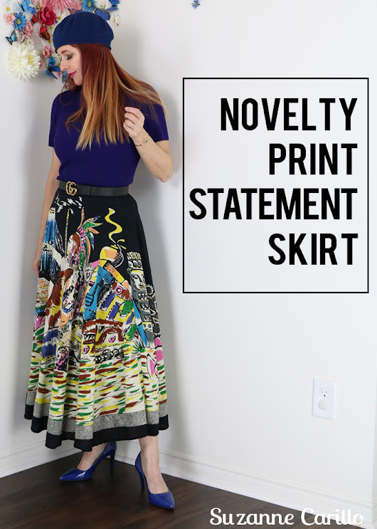 Novelty Print Statement Skirt - Suzanne Carillo