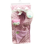 Petite L'Amour Soft Plush Blanket with Travel Pillow - Pink Owl