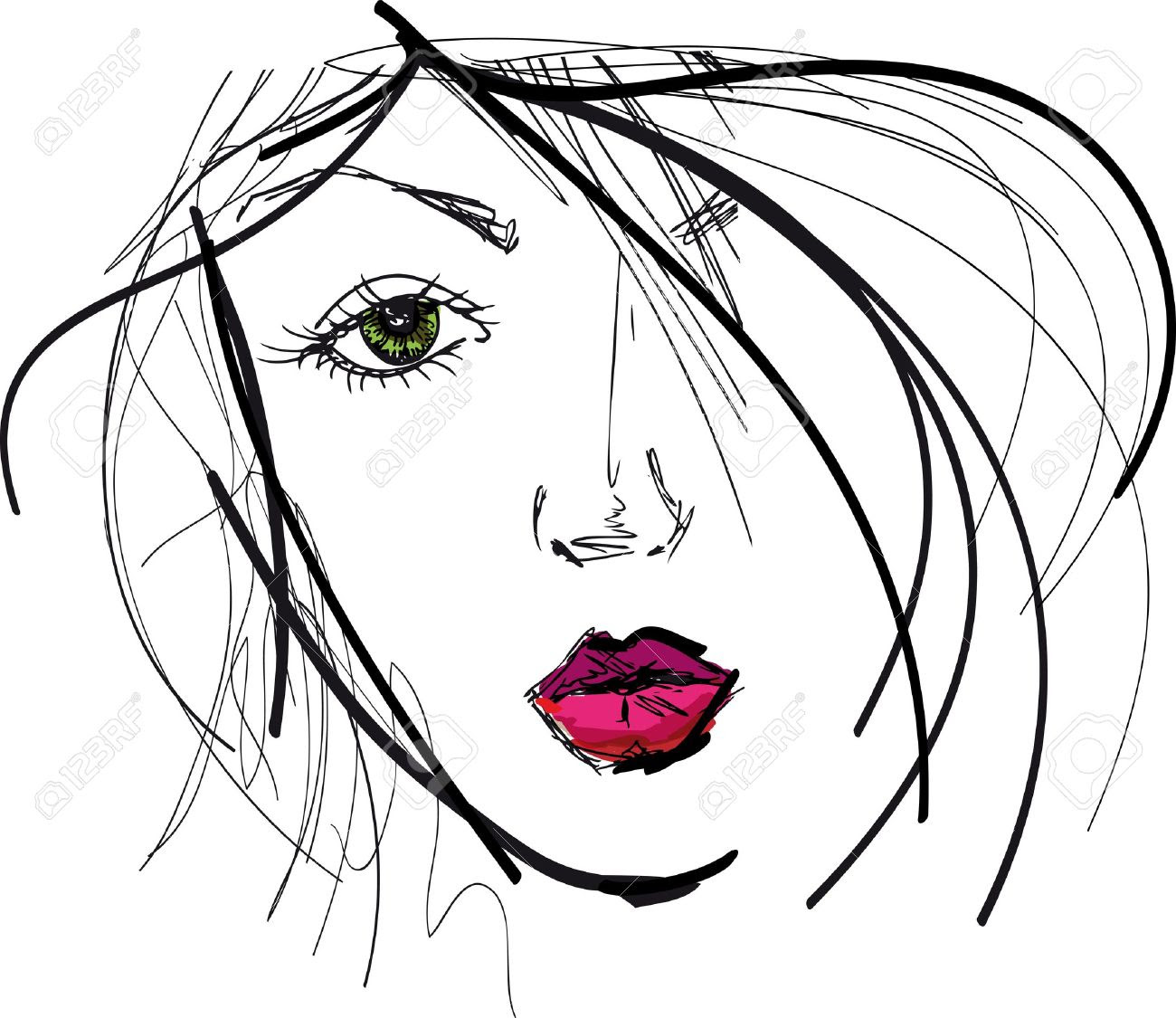 1300x1125 Sketch Of Beautiful Woman Face. Vector Illustration Royalty Free