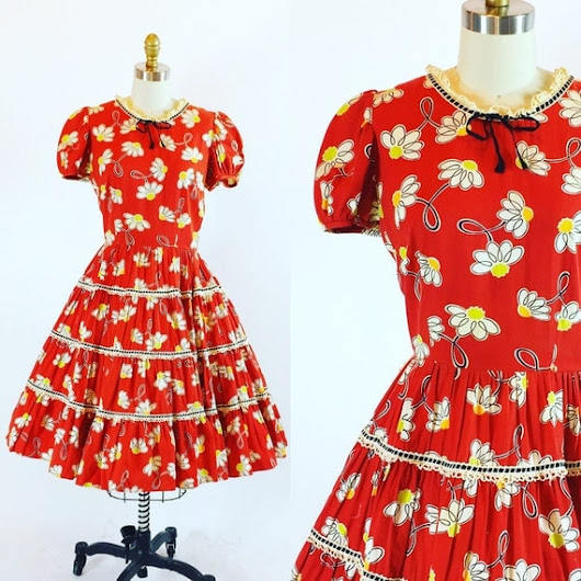Vintage 1960s Pinup Rockabilly Dress  Full by RetroThreadzVintage