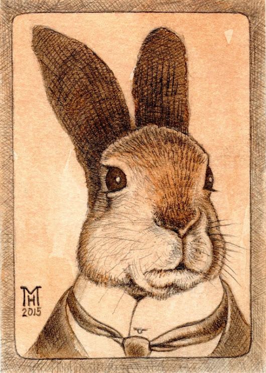 ACEO Original  The Gentleman Is A Hare by TheArtofMarkRHansen