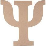Wooden Greek Letter - Unfinished Wood Letter psi, Paintable Greek Font for DIY, Home, College, Sorority, Fraternity Decoration, 11.5 x 11.5 x 0.25