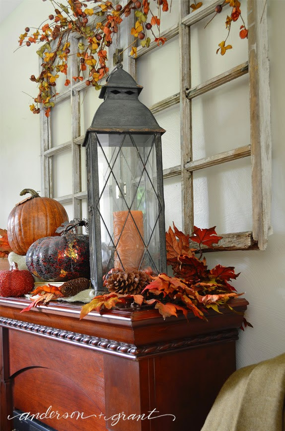 right side of lantern in fall mantel display
