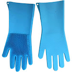 Egmy Magic Reusable Silicone Gloves Cleaning Brush Scrubber Gloves Heat Resistant For Sky Blue