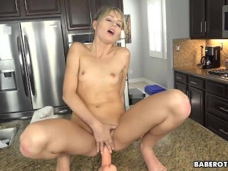 Solo blonde babe, Scarlett Sage is masturbating, in 4K