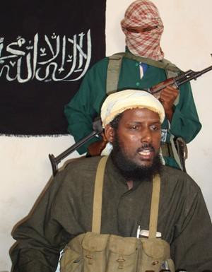 The leader of al-Shabab Sheik Mukhtar Robow Ali (Abu Mansur).  The group stated that fighting in the Bakol region resulted in victory for the resistance movement. They are calling for the removal of AU forces from Mogadishu. by Pan-African News Wire File Photos