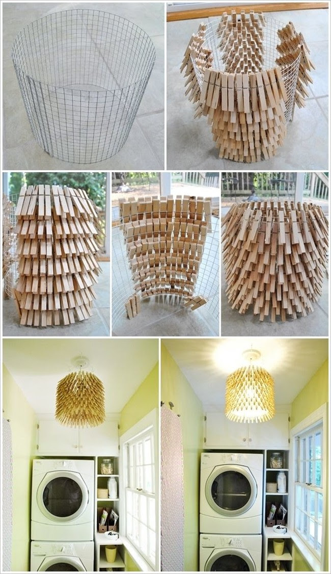 DIY Clothespin Chandelier
