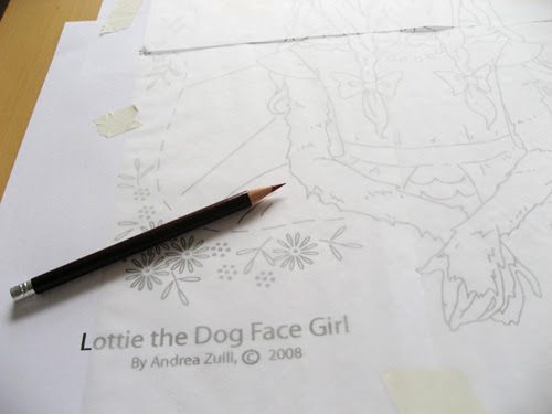 tracing with the transfer pencil