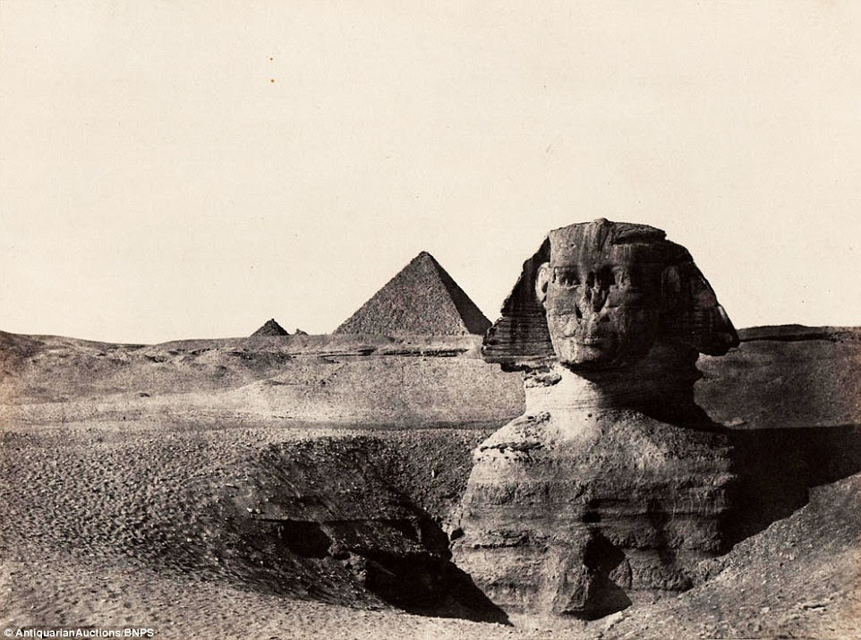 Rare early photographs revealing the stunning architecture of Ancient Egypt including the Sphynx and the Pyramids to the public for the first time have emerged 170 years after they were taken