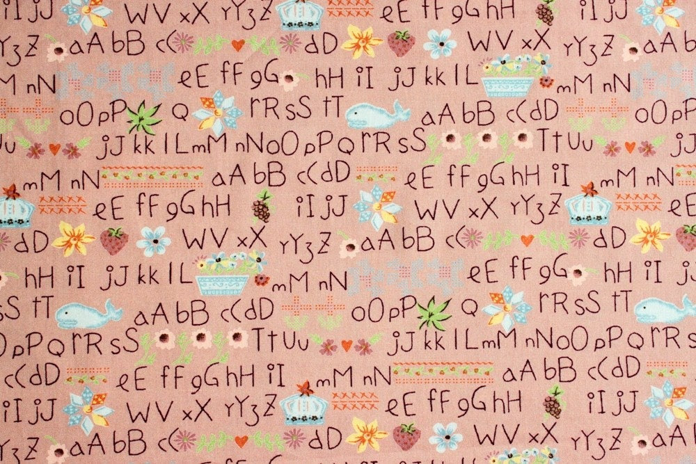 Japanese Inspired Alphabet for Kids in Rusty Red Fat Quarter