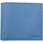 Prada Mens Blue Cobalto Saffiano Cuir Engraved Logo Leather Bifold Wallet 2MO513