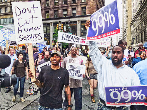 Philadelphia demonstration against education cuts. Municipal debt held by the nation's largest banks are crippling the cities across the United States. by Pan-African News Wire File Photos