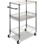 Alera - Trolley - 3 shelves - 3 tiers - welded wire - anthracite black