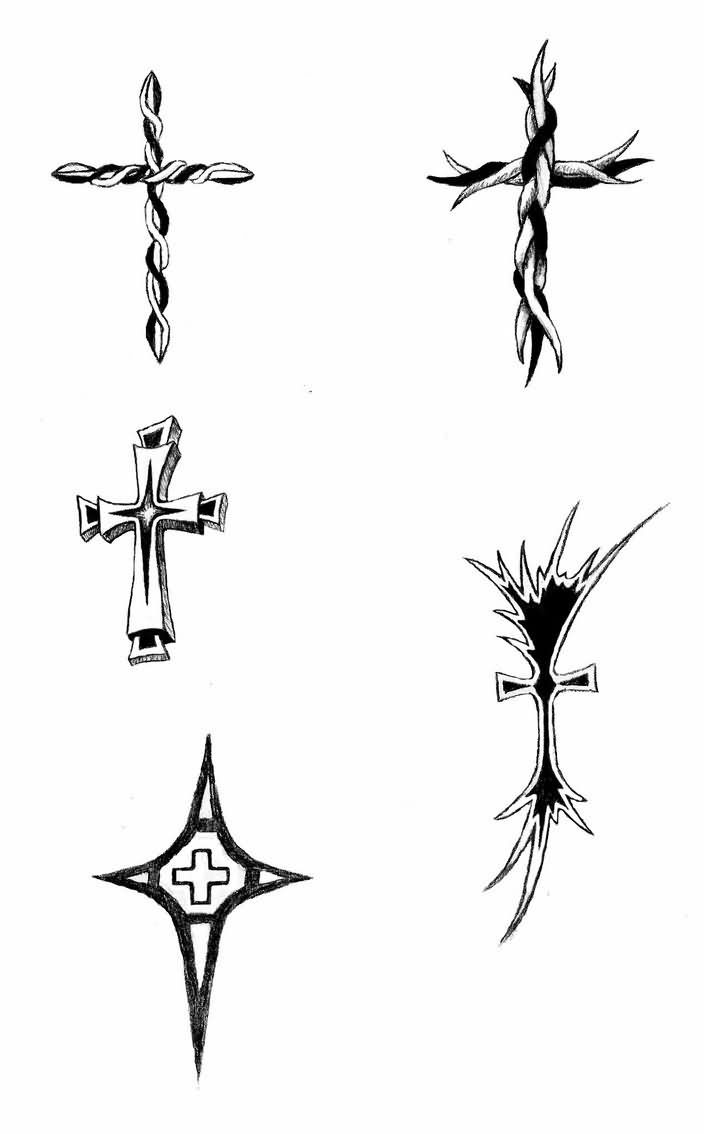 Small Tribal Cross Tattoos Design