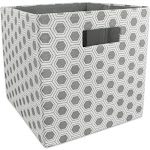"""Gray Polyester Cube Storage Bin with Honeycomb Design 11"""" by Christmas Central"""