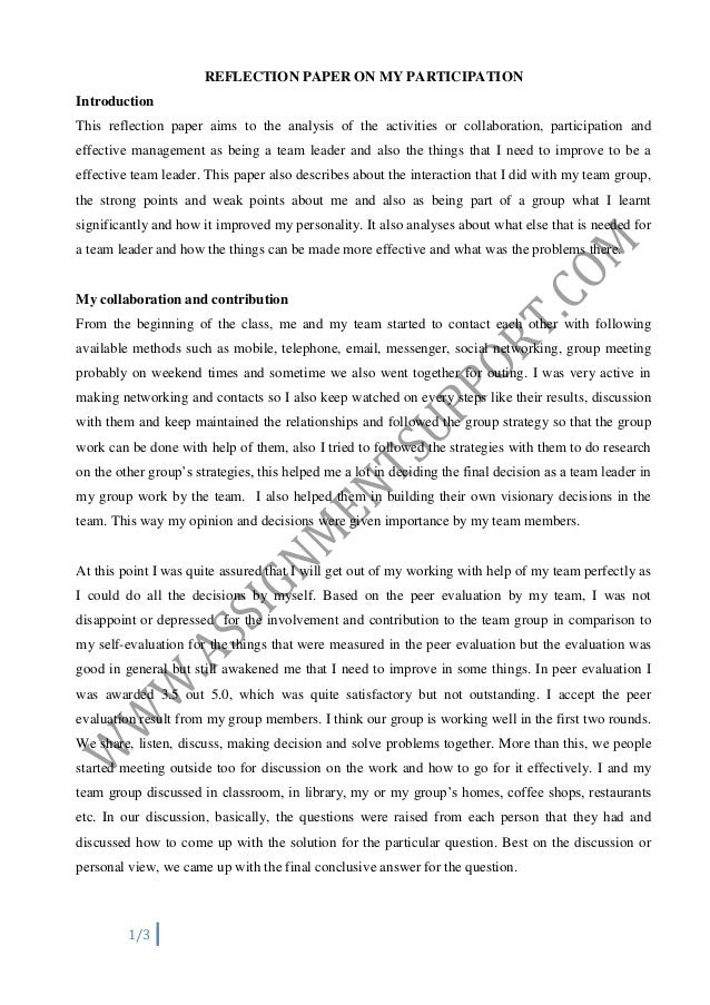 how to write an introduction to a reflective essay