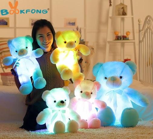 Buy Creative Light Up LED Teddy Bear Stuffed Animals Plush Toy Colorful Glowing Teddy Bear Christmas...