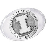 University of Illinois Fighting Illini Pewter Accent Glass Paperweight