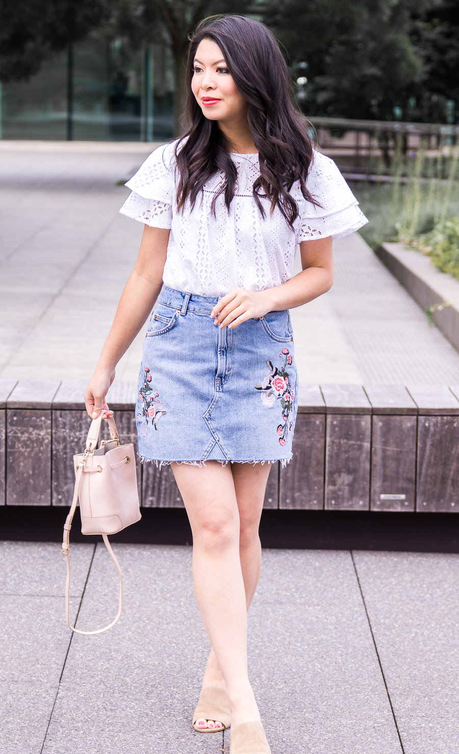 embroidered denim skirt  just a tina bit