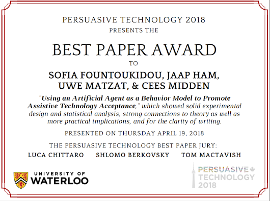 Best Paper Award for Using an Artificial Agent as a Behavior Model to Promote Assistive Technology Acceptance