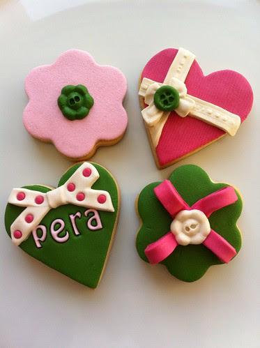 Fabric cookies, cookies, green-pink