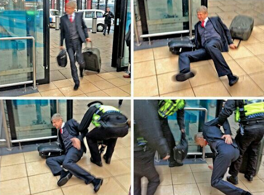 PHOTOS: Arsene Wenger falls down after the defeat at Liverpool on Saturday.
