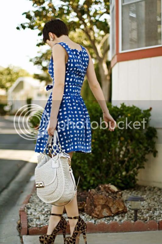 polka dotted blue dress