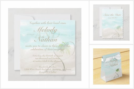 Watercolor Tropical Beach Wedding